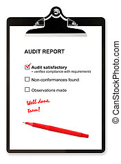Audit Report - Audit report and red pen on clipboard, with...