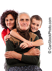 Three generations - Grandmother with daughter and grandson...