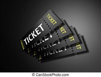Cinema Tickets - 3D render of cinema tickets