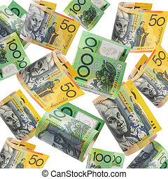 Australian Money - Australian money cascading down, over...
