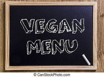 VEGAN MENU - New chalkboard with 3D outlined text - on wood