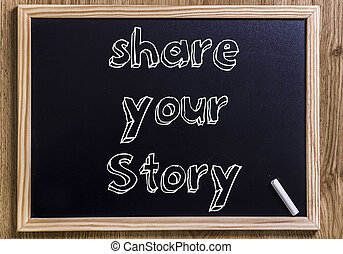 Share your story - New chalkboard with 3D outlined text