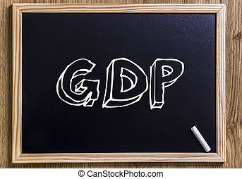GDP - New chalkboard with 3D outlined text - on wood