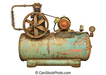 Vintage industrial machine with a green boiler isolated on white