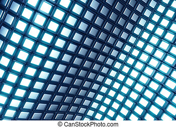 Abstract shiny blue square pattern