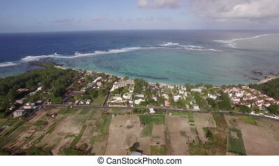 Aerial shot of Mauritius coast and Indian Ocean - Aerial...