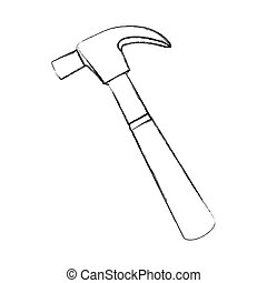 blurred sketch hammer tool icon