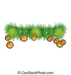 Wreath with pine leaves and golden garlands