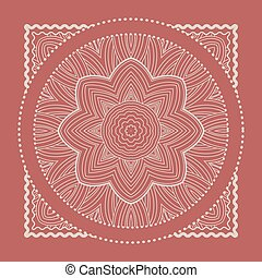 Red Bandana. Marsala trendy color. Vector ornamental tile...