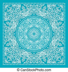 Blue Bandana Print. Vector ornamental tile pattern with...