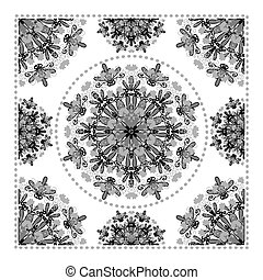 Black Bandana Print. Vector ornamental tile pattern with...