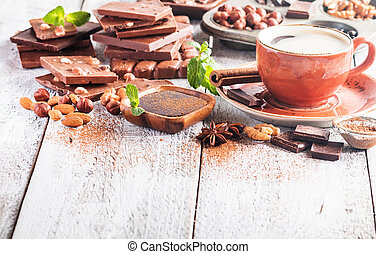 Assortment of chocolate types - Assortment of different...