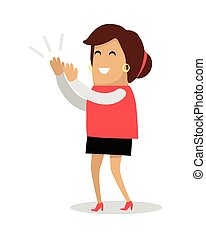 Smiling Woman Applauds Flat Vector Illustration - Smiling...