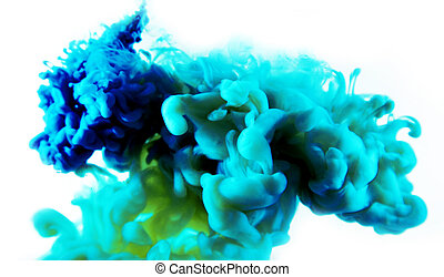 blue green abstract art ink on white isolated background