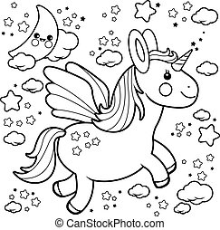 Cute unicorn flying in the night sky. Black and white coloring book page