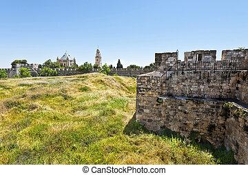 Dormition Abbey in Jerusalem - Dormition Abbey on Mount Zion...