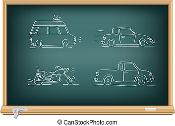 Drawing cars by a chalk on the classroom blackboard