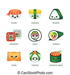 Cute sushi bar icons - Cute Japanese sushi bar menu icons