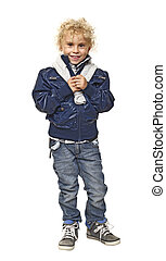 young little boy on white