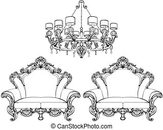 Exquisite Fabulous Imperial Baroque armchair in luxurious...