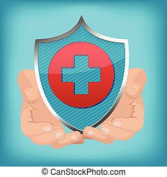 Red Cross Shield Hand Hold Vector