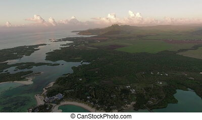 Aerial green scenes and blue lagoons of Mauritius Island -...