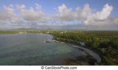 Coastline of Mauritius, aerial view