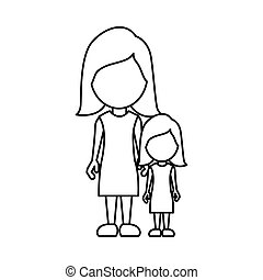 Silhouette woman with her daughter icon