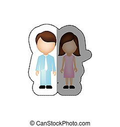 color couple with brown hair icon, vector illustraction...