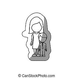 contour woman with her son, vector illustraction design
