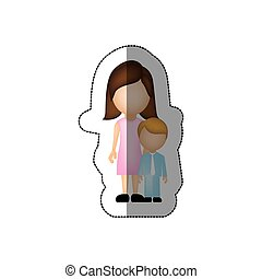 color woman with her son, vector illustraction design