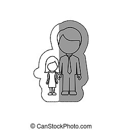 silhouette man with her dougther icon