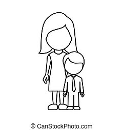 silhouette woman with her son