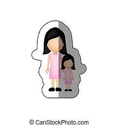 color woman with her daughter icon