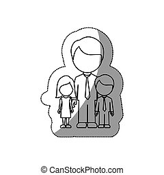 contour man with his children icon, vector illustraction...