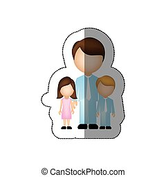 color man with his children icon, vector illustraction...