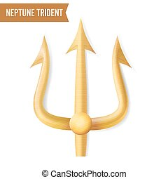 Neptune Trident Vector. Gold Realistic 3D Silhouette Of...