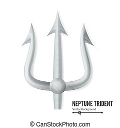 Neptune Trident Vector. Silver Realistic 3D Silhouette Of...