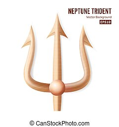 Neptune Trident Vector. Bronze Realistic 3D Silhouette Of...