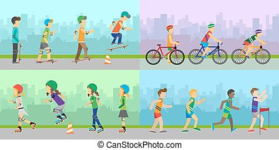 Sport Entertainment Vector Concepts in Flat Design - Set of...