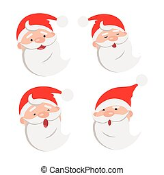 Collection of four Santa Claus Face Expressions - Collection...