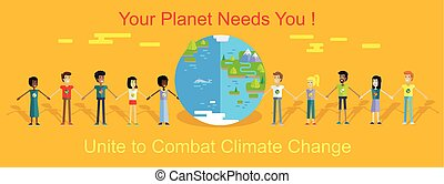 Saving Planet Earth Vector Concept in Flat Design. - Smiling...