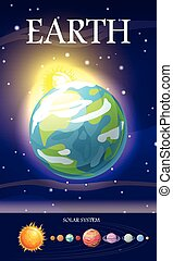 Earth Planet. Sun System. Universe. Vector - Earth planet....
