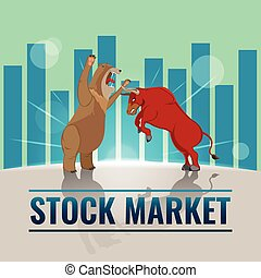 Bull Bear Business Stock Market Background Vector