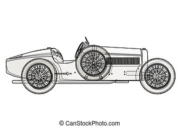 Ancient race car Bugatti in contour lines as per schedule.