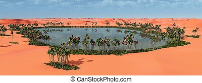 Desert oasis - Computer generated 3D illustration with an...