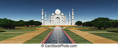 Taj Mahal in India - Computer generated 3D illustration with...