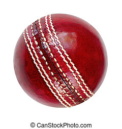Cricket Ball - Cricket ball, isolated on white Classic red...