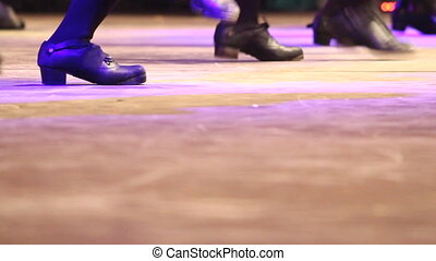 Irish dance on stage people dancing at folk festival - Two...