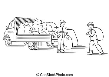 Vector illustration of truck with cargo for moving or relocation with moving men carrying load.